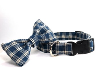 Blue Plaid Dog Collar with Matching Bow Tie