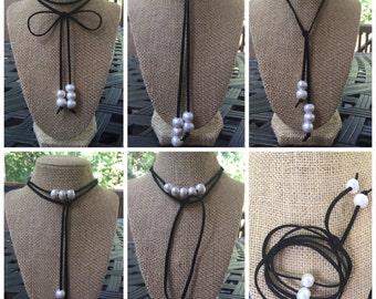 SALE Suede Wrap Necklace, Choker Pearl Wrap Necklace, Wear it Multiple Ways, Lariat, Wear Long or Short, 5 Beautiful Freshwater Pearls