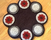 Red Flower (and Grey Tone Pennies) - Wool and WoolFelt Decoration Mat (Penny Rug) Candle Mat