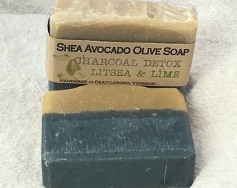 Cold Process Soap SHEA AVOCADO OLIVE Lime & Charcoal Detox Bar All Natural Made in Vermont