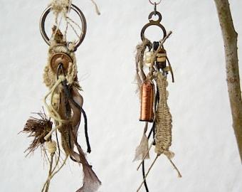 Tribal  Earrings  Steampunk Asymmetric Dangle Earrings Art Jewelry Unique OOAK