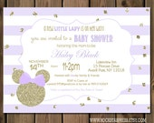 Minnie Mouse Baby Shower Invitation, Gold and Purple Minnie Mouse Shower Invite, Digital File,  PRINTABLE _1228