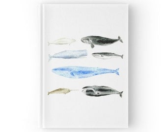 Whale Journal, hardcover journal, whale notebook, ocean journal, white journal, whale watercolor, whale chart, white notebook