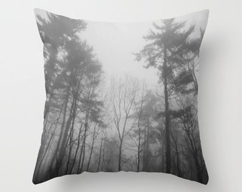 Black and White Pine Trees Throw Pillow Cover, tree pillow cover, woodland pillow, forest pillow, tree throw pillow, black white pillow