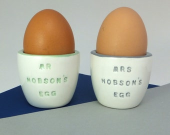 Pair of personalised handmade ceramic egg cups