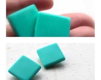 square turquoise earrings- geometric blue earrings- mod earrings- mid century earrings for her