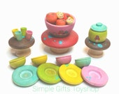 Tiny Toadstool Garden Party // Faerie Garden Accessories // PegCorn Play Set // Wooden Waldorf Toy // Mini Toys // Doll House Accessories
