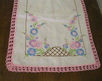 Hand Embroidered Dresser Scarf with Hand Crocheted Edging, Pastel Pinks, Blues, Purples, Greens