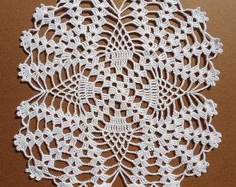 White table doily coaster handmade crochet