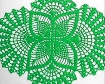 Green oval lace doily home decor crochet