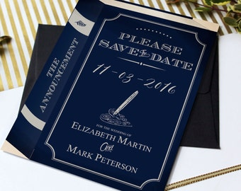 Navy Library Wedding Save the Date Cards, Book Literary Themed Wedding Stationery