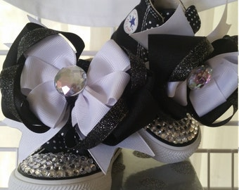 BLACK & WHITE BLINGALICIOUS High Top Sneakers for your Pretty Princess