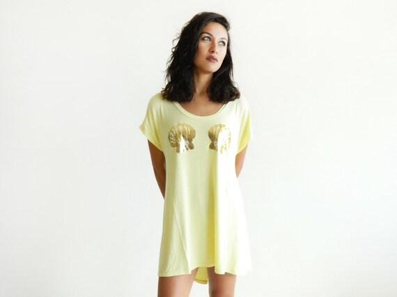 Mermaid High-Low TShirt Dress / Yellow w/ Gold
