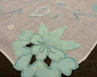 Madeira Hankie Blue Flower Vintage