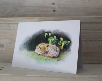 Blank Sleeping Fox Greeting Card