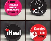 Nurse nursing 1 inch medallions for interchangeable magnetic badge reels, 4 images, Scrubs are Sexy, Set 1