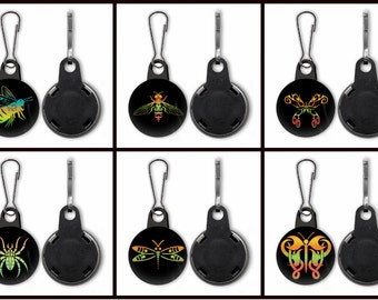 Set of Six Bugs, Insects Zipper Pulls, black background, avatars, icons, graphic design, colorful, set 2