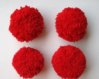 Pack of 4 Really Big Yarn Pompoms