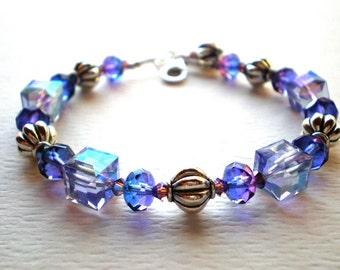 Lavender crystal bracelet - Swarovski crystal jewelry, purple crystal bracelet, sterling silver clasp, special occasion gift, wire strung