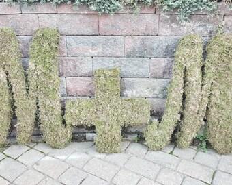 Moss decor- Moss monogram- Moss decor- home decor moss covered letters- free standingMoss covered letters -Wedding Monogram letters