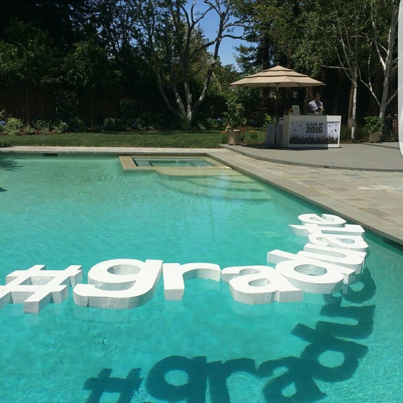 Floating pool letters wedding monograms wedding day for Outdoor pool decorating ideas