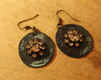 "Dangling Sparkly ""Ancient Copper""Earrings"