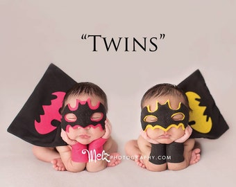 Batman & BatGirl/Batwomen Costumes for Newborn Twin boy and girl, Photography Prop, DC Comics, Boy Girl Twins, Superhero - Twin Superhero's