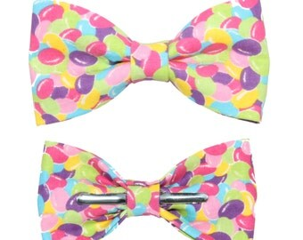 Colorful Easter Jelly Beans Clip on Cotton Bow Tie Bowtie ~Choice of Men's or Boys Sizes