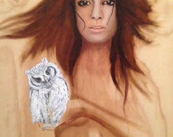 Original Oil Painting Portrait on wood art - THE OWL EFFECT