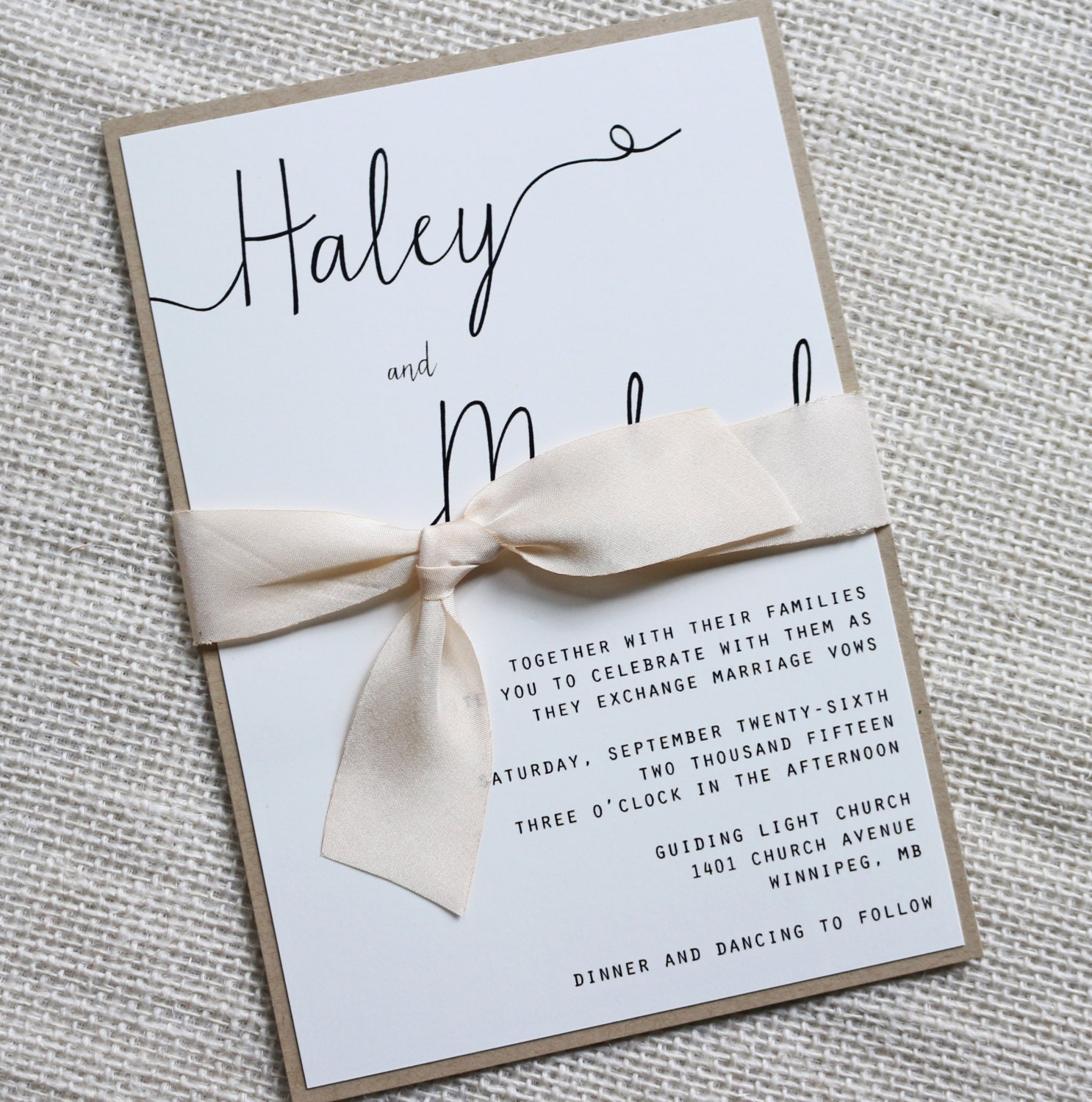 Modern wedding invitation simple wedding invitation rustic for Simple wedding invitations with pictures
