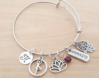 Yoga Lotus Bracelet - Namaste Bracelet - Personalized Bracelet - Adjustable Bangle - Birthstone Bracelet - Personalized Jewelry