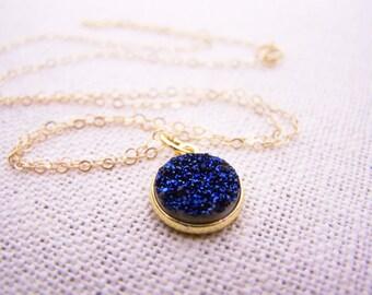 Blue Druzy Gemstone - 14k Gold Filled Necklace - Dainty Necklace - Gold Necklace - Blue Necklace - Gift for Her
