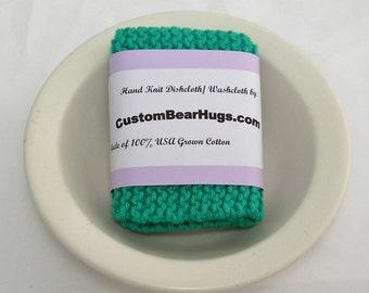 Large Cotton Dishcloth/ Washcloth, Hand Knit in Mod Green,  Mix and Match to Make a Custom Set, Housewarming Gift, Stocking Stuffer