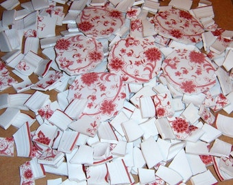Vintage,Broken chins, Mosaic focal, mosaic tiles, handcut, red floral mosaic pieces, mosaic supplies