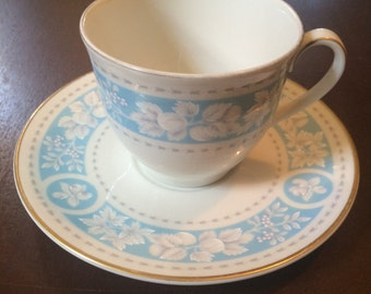 Royal Doulton Blue White China Cup and Saucer