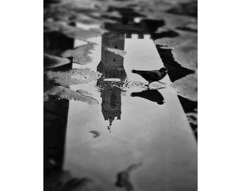 Florence, Italy, Art Photography, Florence Reflections, Classic Black and White Photo