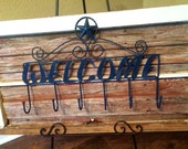 Salvaged Window and Old Wood with Welcome Hooks