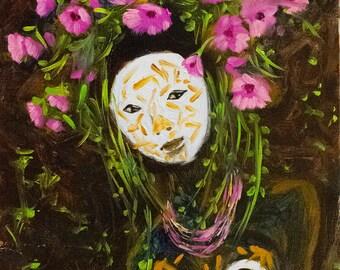 Wild Flower Original Oil Painting   Portrait Painting   Portrait Oil Painting