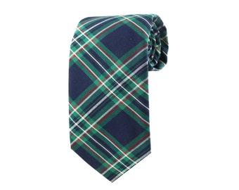 Green Plaid Tie/cotton/necktie/handcrafted/wedding/holiday ties
