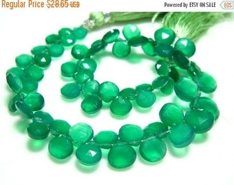 """BIG SALE Green Onyx Faceted Heart Briolettes- 7"""" Strand -Stones measure- 4-7mm"""