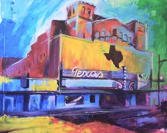 Texas Theater San Angelo Texas Giclee Canvas Landmark Print Wall Art Colorful Abstract Pop Art