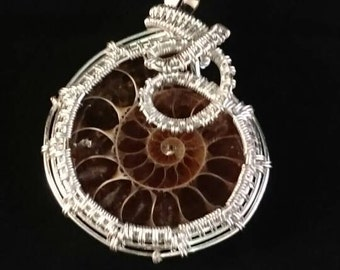 Ammonite Cabachon in Silver Wire - Handmade Wire-weaved Pendant with Gemstone