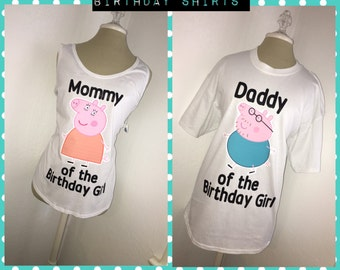 Peppa The Pig Mom and Dad Family Birthday Shirts