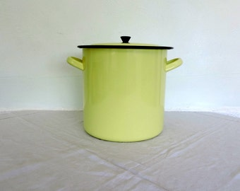 Yellow enamel cooking pot, vintage french home decor
