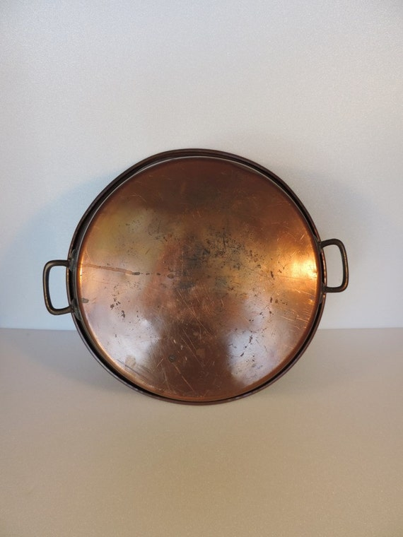 Vintage french, solid copper, brass handled preserving pan or jam pot