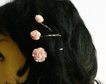 Pink flower hair grips, 3 bobby pins, pink hair slides, UK shop