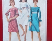 Vintage Simplicity 6441 Sewing Pattern Size 16 Bust 36 One Piece Dress 1960s Fashions All 8 Pieces
