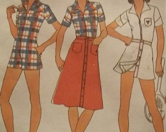 UNCUT and FF Pattern Pieces Vintage Simplicity 7527 Skirt in Two Lengths and Short Jumper Size 12