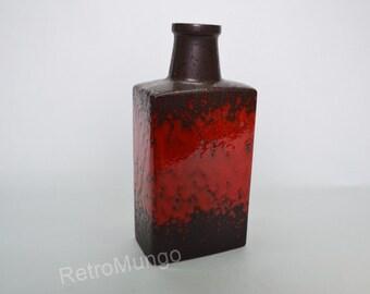 West German Fat Lava vase by Scheurich 281-30 - brown/red