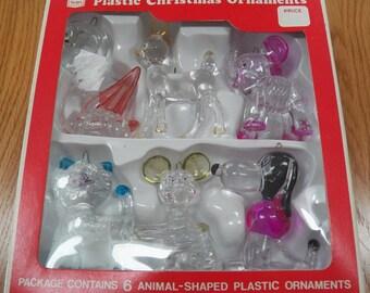 Vintage Boxed Set Sears Plastic Christmas Ornaments~Deer/Cat/Dog/Mouse/Elephant